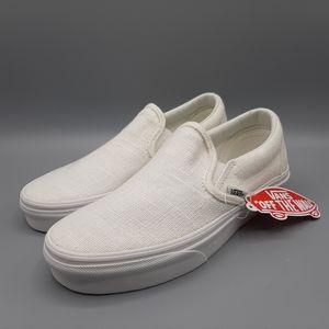 NEW Vans Classic Slip-On Hemp Linen White Blanc De